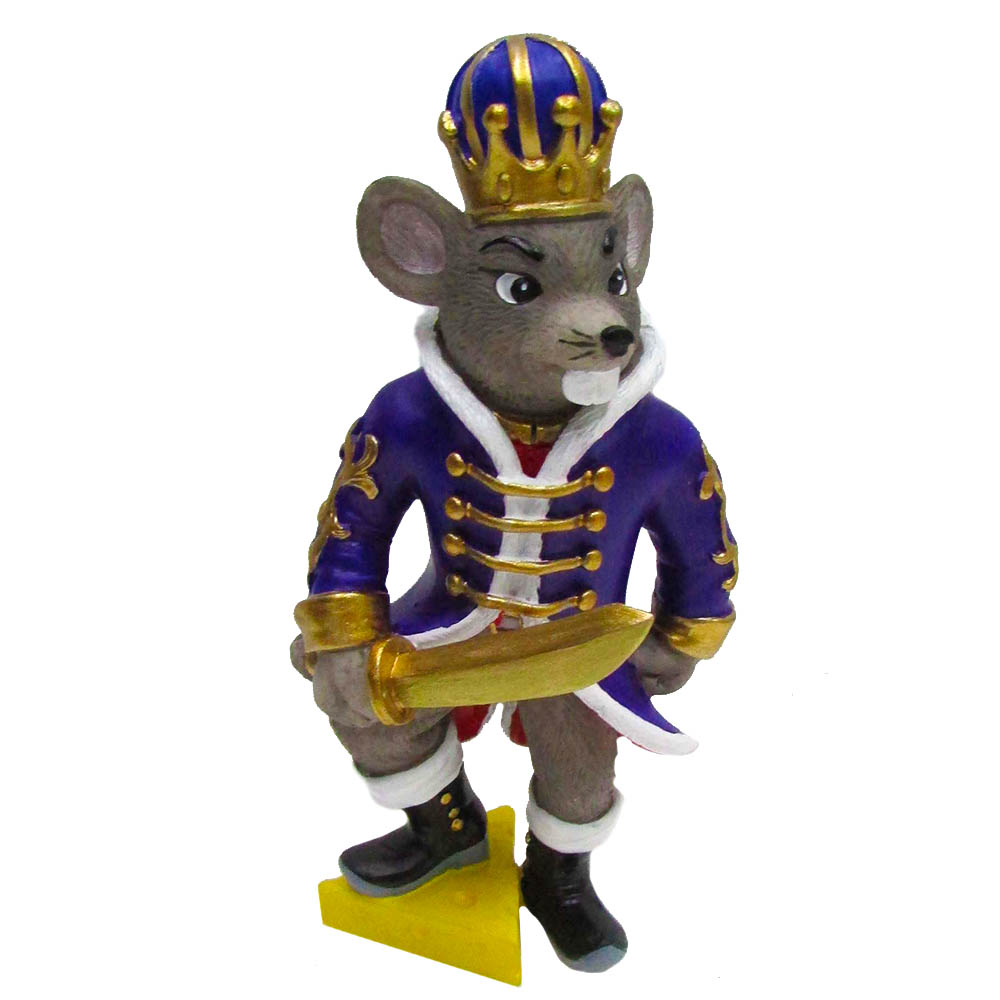 Mouse King on Cheese Resin Ornament with Sword 4 inch