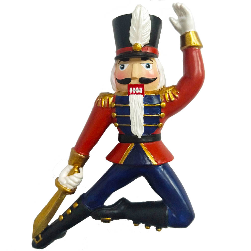 Nutcracker Soldier Resin Ornament with Sword 4 inch