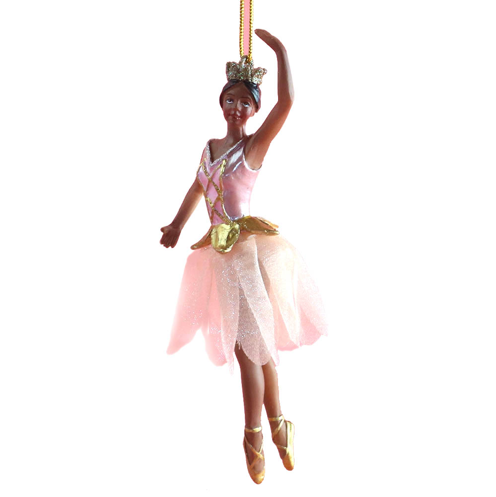 African American Rose Gold Ballerina with Tutu Ornament 4 inch
