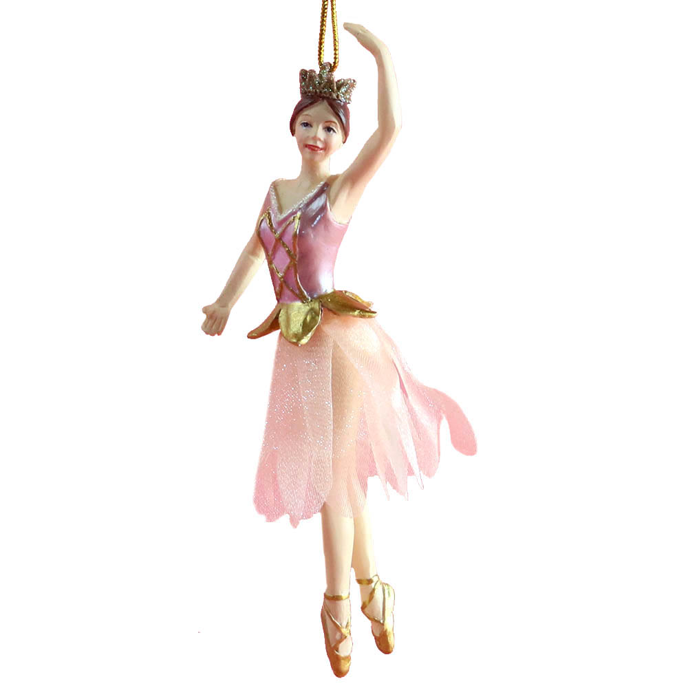 Rose Gold Ballerina with Fabric Tutu Resin Ornament 4 inch