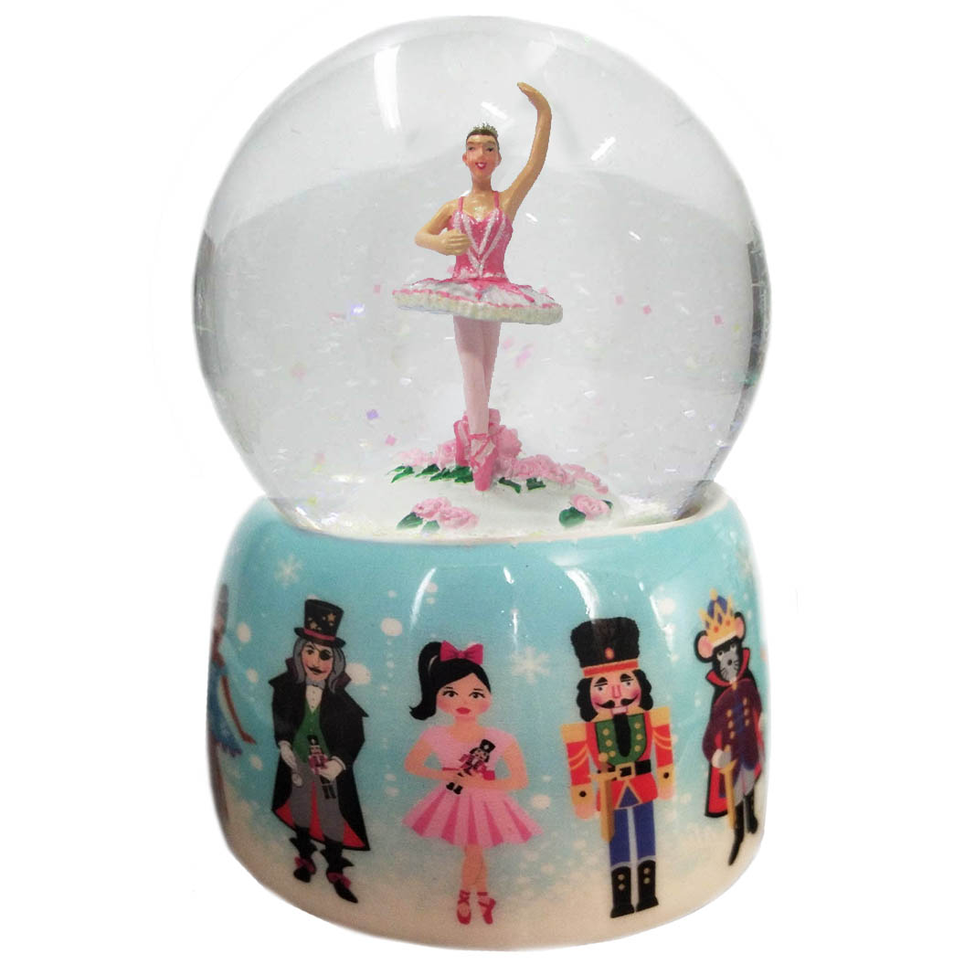 Musical Sugar Plum and Nutcracker Snow Globe Ceramic 65mm