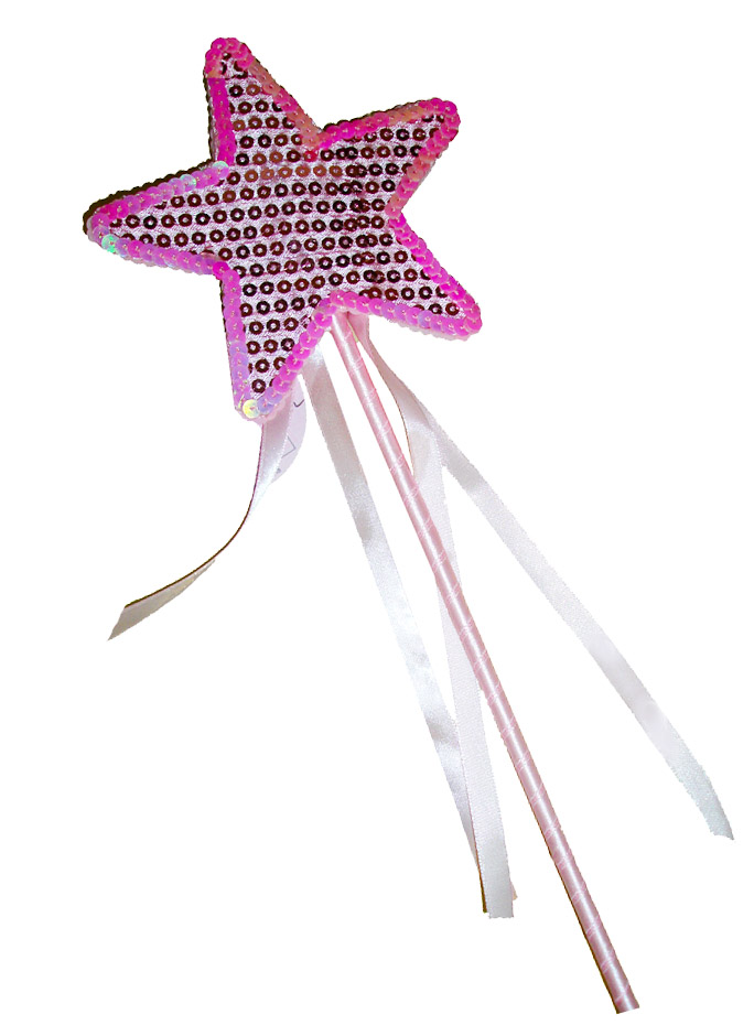Pink Fancy Sequins Star and Ribons Wand