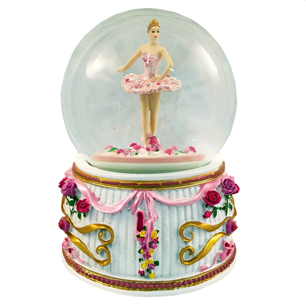 Musical Ballerina in Tutu Snow Globe Turning 100mm