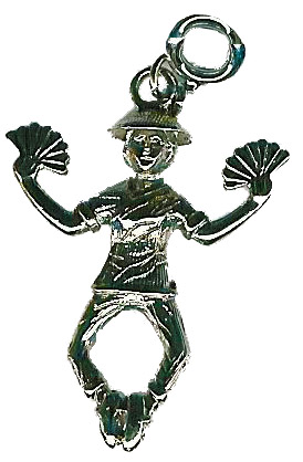 Chinese Tea Dancer with Fans in Gold or Silver Charms