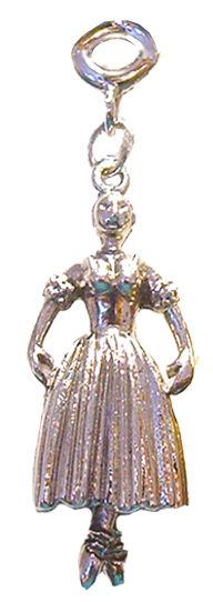 Ballerina Snow Dancer with Tutu in Gold or Silver Charm