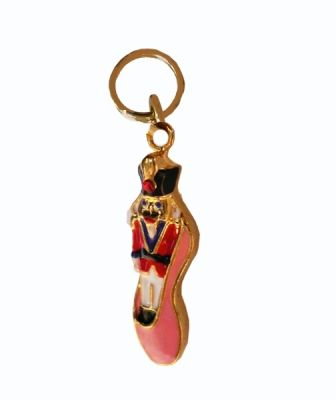 Nutcracker in Pink Ballet Slipper with Crystals Charm