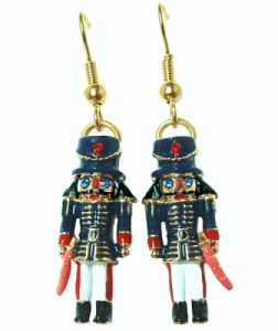 Multi Color Enameled Soldier Nutcracker Earrings