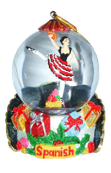 Mini Spanish Dancer Red Dress Snow Globe Ornament