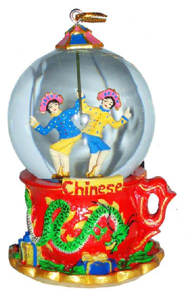 Mini Chinese Dancers Snow Globe Ornament