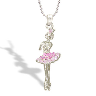 Ballet Dancer in Tutu Dress with Pink Crystal Necklace