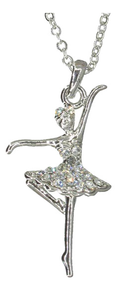 Dancing Ballerina in Ballet Dress with Rhinestones Necklace