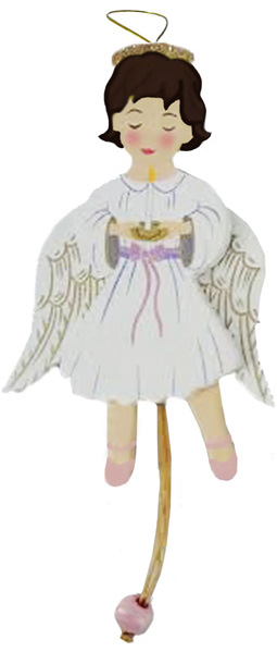 Angel Land of Sweets Pull Puppet Ornament Brown Hair 5 and a half inch
