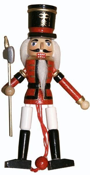 Soldier Nutcracker Pull Puppet Ornament 6 inch