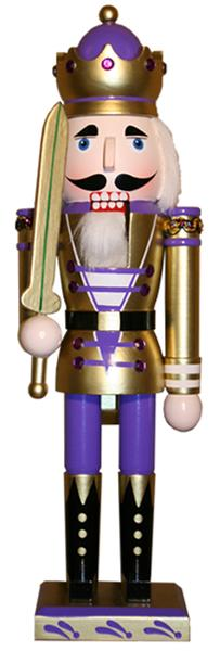 Nutcracker with Gold & Purple Metallic Jacket and Crown in 15 inch