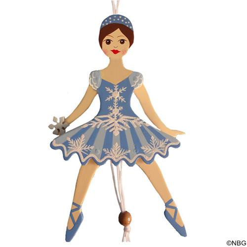 Snowflake Dancer Pull Puppet Ornament Brown Hair 6 inch