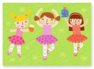Ballerinas with Colorful Ballet Costume Twirl Birthday Card