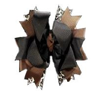 Black, Brown and Leopard Print Hair Bow
