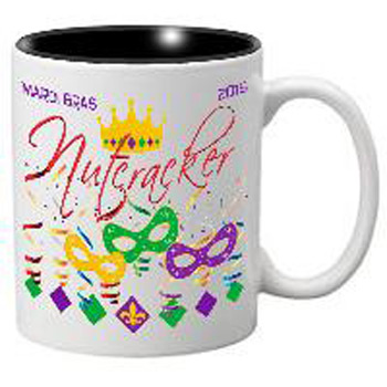 Nutcracker Ballet Mug - Mardigras1 - 3 Masks, Confetti and Crown