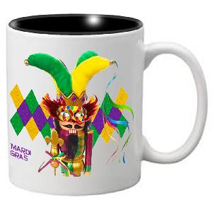 Nutcracker Ballet Mug - Mardigras2 - Jester Nutcracker on Diamond background