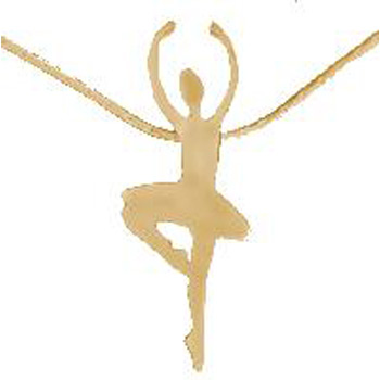 Dancing Ballerina Brass Pendant with Gold Chain Pointe