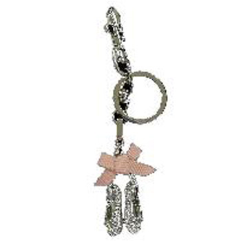 Ballet Slippers in Silver with Rhinestones Key Chain