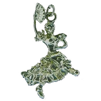 Spanish Chocolate Dancer with Fan in Gold or Silver Charm