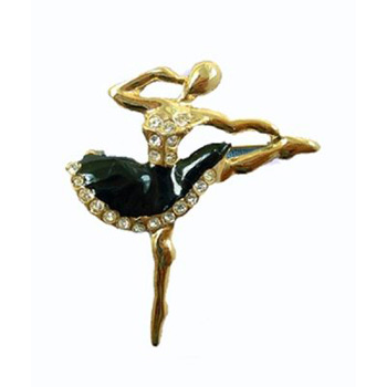 Ballerina in Black Tutu with Sparking Rhinestones Gold Pin
