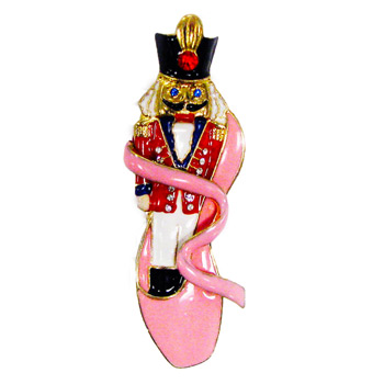 Nutcracker with Red Jacket in Pink Ballet Slipper Pin