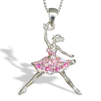 Silver Ballerina Ballet Dancer with Pink Austrian Crystals Necklace