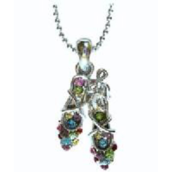Silver Ballet Slippers with Multi Colored Rhinestones Necklace