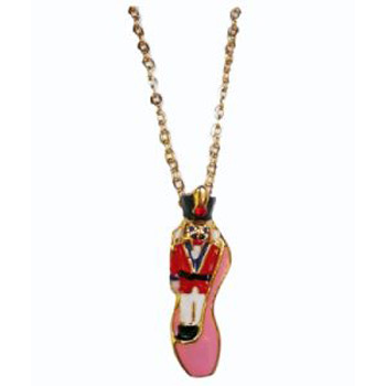Nutcracker with Red Jacket in Pink Ballet Slipper Necklace